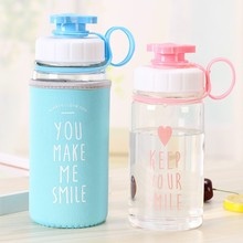 450ml Creative Cute Kids Glass Water Bottle Portable With Cover Children Good for Travel Outdoor Sports
