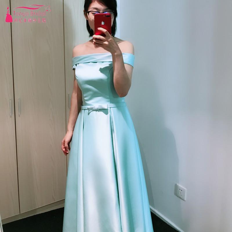 Off The Shoulder Simple Tea Length Prom Dresses 2018 Light Blue ...
