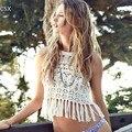 Women's Summer Fashion Sexy Hollow Crochet Swimwear Cover-Ups Bikini Cover Up Beach Crop Tops Drop Shipping 10