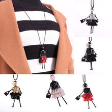 5colors 1 Piece Women Fashion Doll Pendant Necklaces Bead Dress Long Chain Handmade Necklace For Lover Gifts Jewelry(China)
