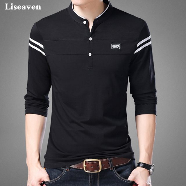 Liseaven Camisa Dos Homens T Homem tshirt Longo Da Luva Vestuário Mandarim Collar Camisetas Tops & T dos homens Masculinos Camisetas