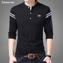 Liseaven Uomini T Shirt Uomo Manica Lunga maglietta degli uomini di Abbigliamento Mandarino Collare T Shirt Magliette E Camicette maschio Magliette