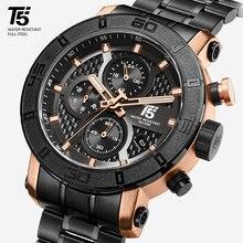T5 Top Brand Luxury Rose Gold Quartz Chronograph Men Mens  R