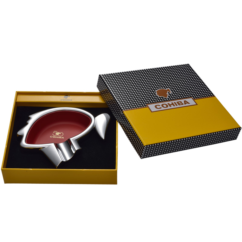 New Style High Quality Luxury COHIBA LOGO Shape Stainless Steel Portable Travel use Cigar Ashtray One Holder