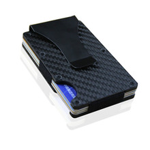 BISI GORO Carbon Fiber Black Silver Credit Card ID Holder With RFID Anti-chief Wallet Metal Mini Money Clip Brand 2019 Fashion