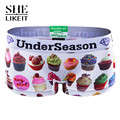 Shelikeit DESIGN New Fashion Women Boyshort Low Waist Cake Print Casual One-Piece Underwear Panties Shorts Black White