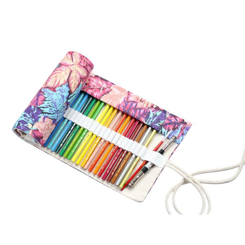 Maple Leaf Canvas School Pencil Case Roll Pencilcase Large Pen Bag Colored Pouch Case Escolar Penalty Supplies