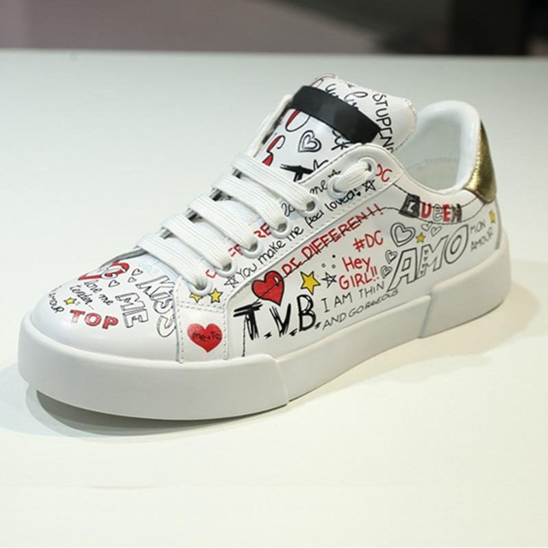 Sapato Grande Lady Marque Dessinée Luxe Tennis En Cuir Femmes Chaussures Feminino Taille Graffiti Bande Plates De 42 Véritable Sneakers pfxPpS
