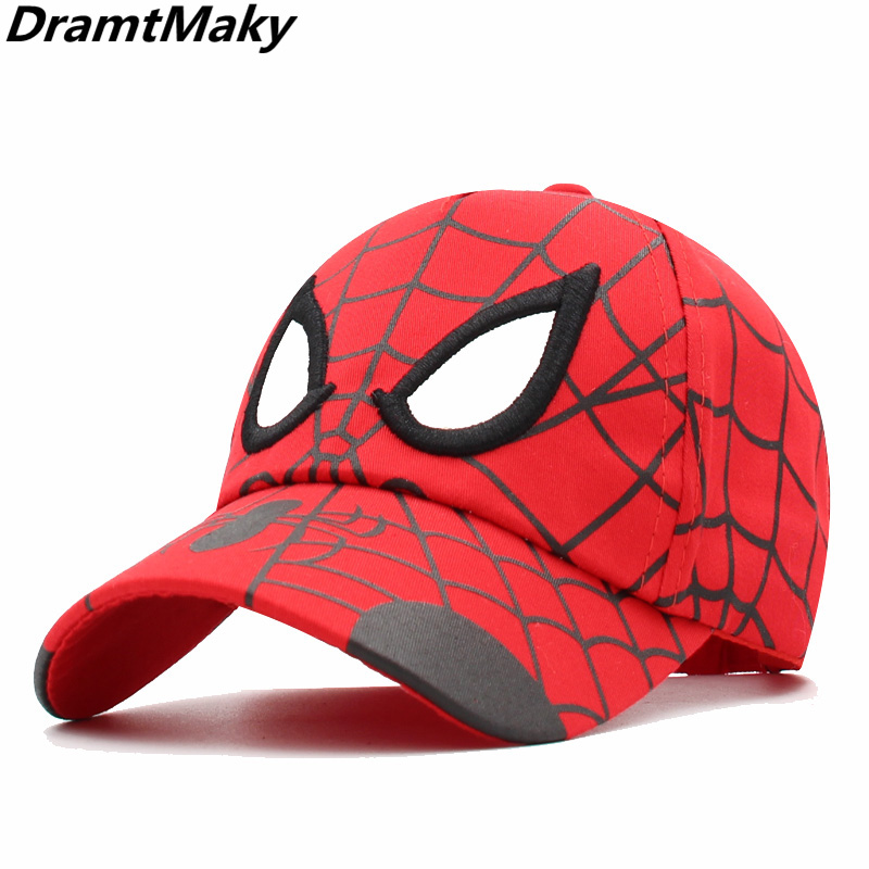 Anime Spiderman Kids Cap Cartoon Baby Embroidery Cotton Children's Baseball Caps For Boy Girl Hip Hop Hat Snapback Summer Cap