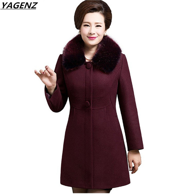 Autunno Donne Giacca Invernale Cappotto di Mezza Età Madre Abbigliamento  Medio Lungo Cappotto Di Lana Più 280fbdc9523