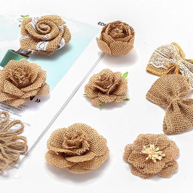 9pcs Natural Jute Hessian Flower Handmade Burlap Rose Vintage