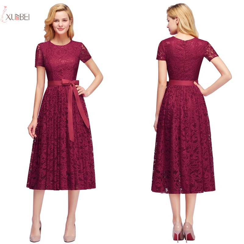 2019 Navy Burgundy Pink Lace Short   Bridesmaid     Dresses   Scoop Neck A line Sleeveless Wedding Party Gown