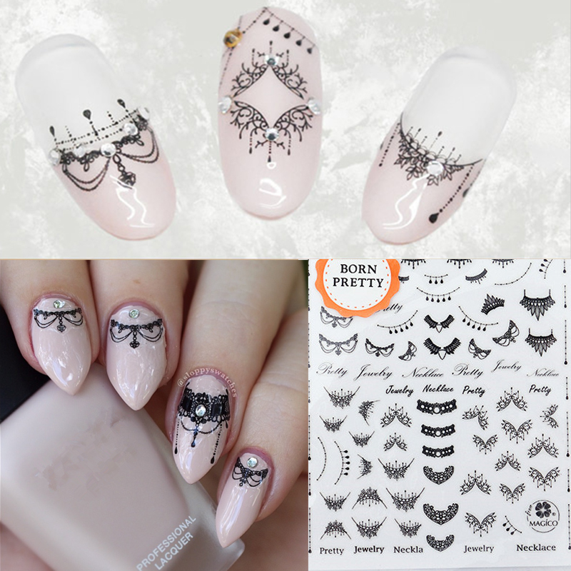 Lace Necklace 3D Nail Art Stickers Black Lace Full Nail Stickers Nail Decals direct continental carved 3d nail stickers nail sticker nail art stickers 3d nail stickers xf711