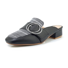 Summer autumn womens slippers beautifully buckled to decorate comfortable inner square toe thick high heel women
