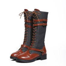 0ca6385ab96 Women Ladies Shoes Denim Roman Riding Knee High Cowboy Boots Martin Long  Boots(China)