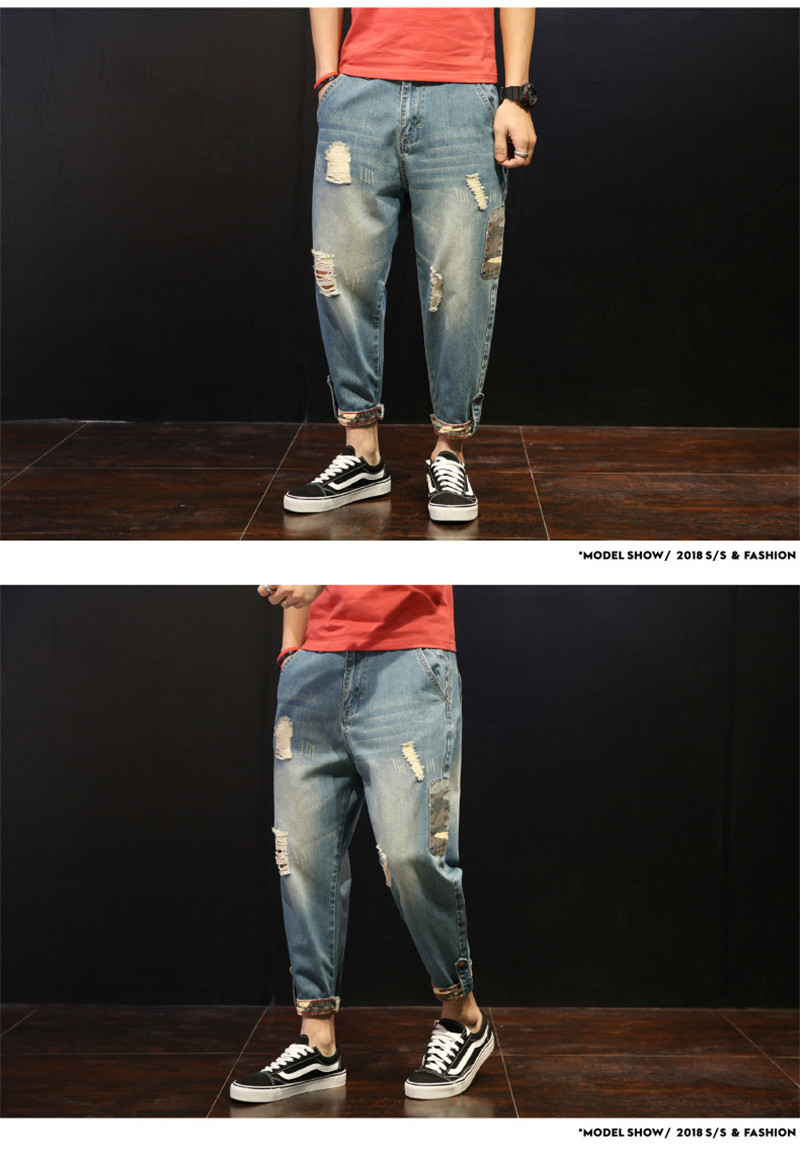Fashion Patchwork Ripped Men's Jeans Boys Loose Casual Holes Ankle-Length Harem Pants Jeans Trousers Large Size (1)