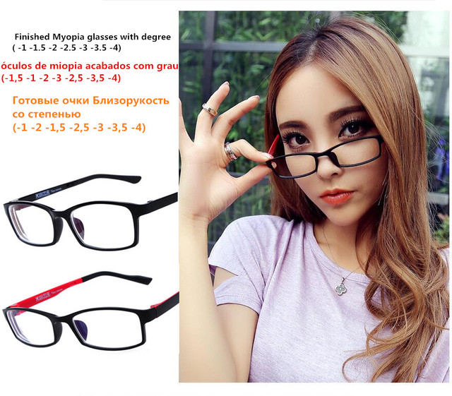 cb21339fe41 TR90 Finished Optical Eye Glasses Frames With Myopia Lens For Women Men  Student Small Frame Eyeglasses Degree oculo( -1.0to-4.0)