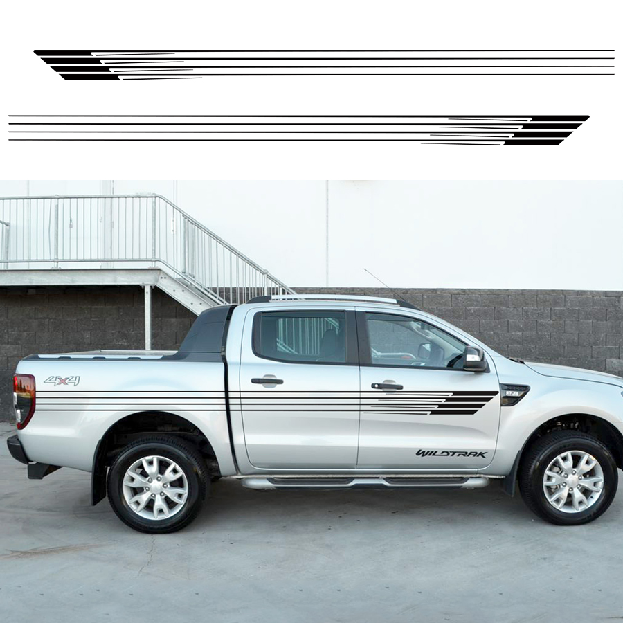 2 PC stripes pick up truck tapered vinyl decal hood graphic for camo van Ford ranger 2012 2013 2014 2015 2016 sticker 4pc mudslinger body rear tail side graphic vinyl decals for ford ranger 2012 2013 2014 2015 2016 sticker