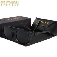 KEITHION BRAND Steampunk Polarized Sunglasses Women Men Retro Goggles Round Flip Up Glasses steam punk Vintage Fashion Eyewear