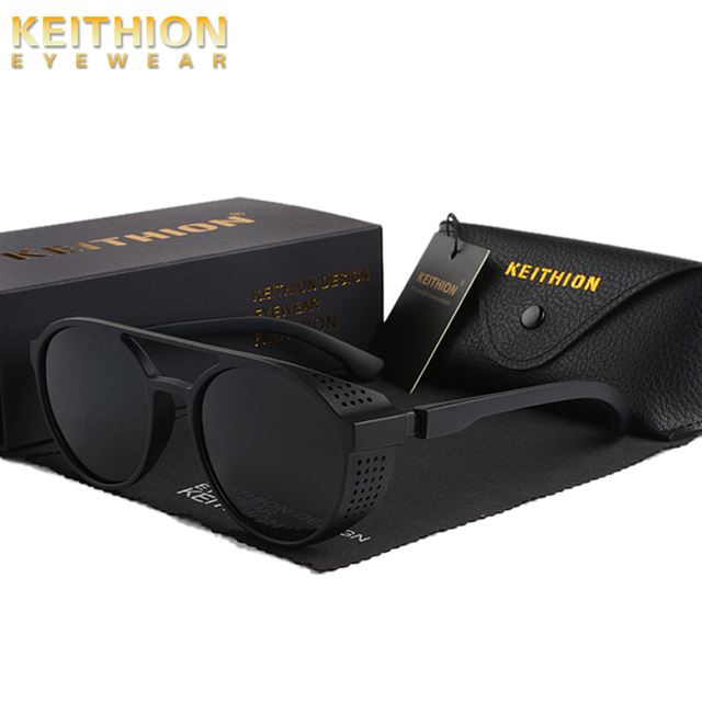 KEITHION BRAND Steampunk Polarized Sunglasses Women Men Retro Goggles Round Flip Up Glasses steam punk Vintage Fashion Eyewear