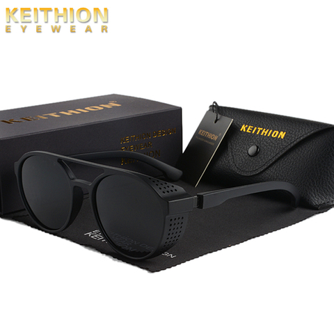 KEITHION Retro Round Polarized Sunglasses Steampunk Men Women Brand Designer Glasses Oculos De Sol Shades UV Protection Karachi