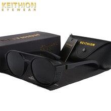 Солнечные очки KEITHION в стиле стимпанк для мужчин и женщин, поляризационные солнцезащитные, в круглой оправе, в винтажном стиле, с откидной крышкой, модные