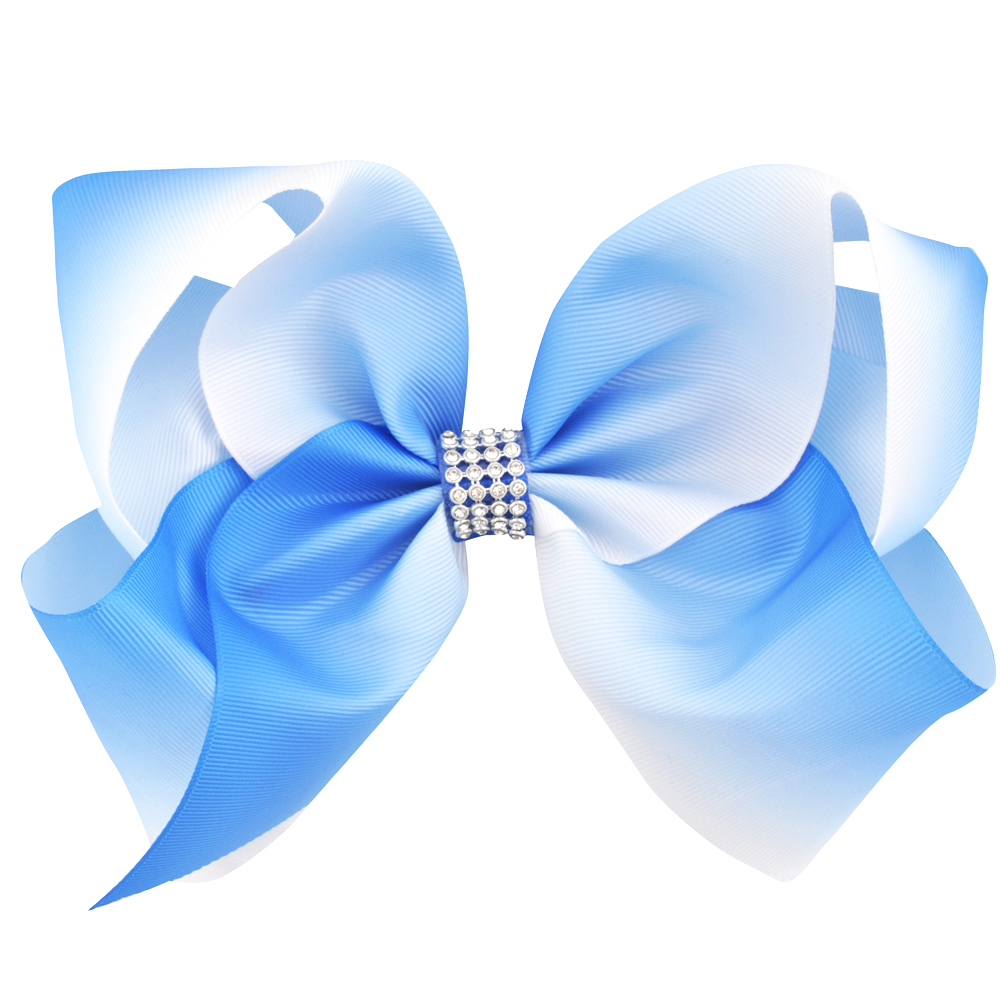 Beautiful Dark Brown And Light Blue Eight Inch Rhinestone Hair Bow