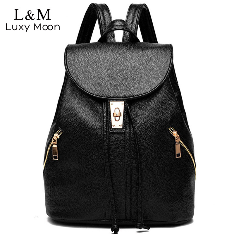 Women Backpack Solid String Black Backpacks For Teenage Girls Bag 2017 Vintage Leather Rucksack School Bags