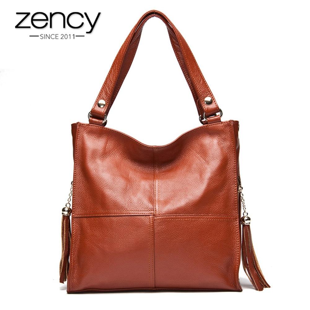 Zency Tassel Women's Handbag 100% Genuine Leather Shoulder Bag Female Fashion Crossbody Messenger Purse White Hobos Satchel