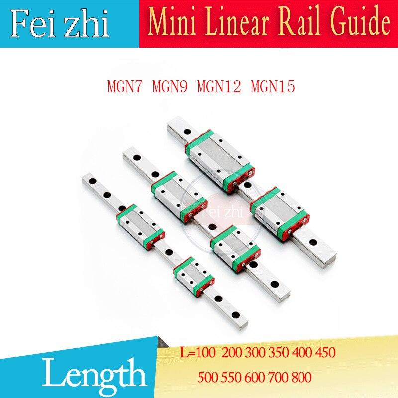 3D piezas de impresión guía lineal 1 unid MGN7 MGN9 MGN12 L = 100 200 300 350 400 500 600 700 carril de guía Linear MGN12H o MGN12C piezas cnc