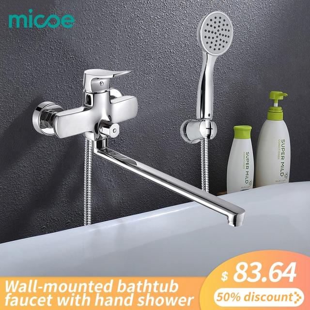 Micoe Badewanne Wasserhahn Bad Badewanne Dusche Set Chrome Wand Wasserhahn Messing Badewanne Waschbecken Mixer Wasser Mixer Hand Dusche H-HC606