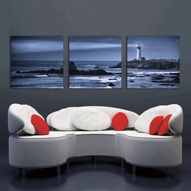 Banmu Oil Painting Lighthouse Decoration Home Decor On Canvas Modern Wall Art Print Poster