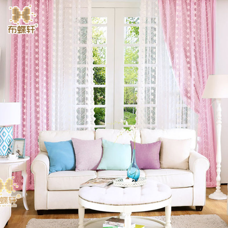 Korean Style Pinkycolor Blue Green Red Purple Curtains For Living Room Window Curtains For
