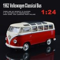 1:24 VW T1 Bus Type 2 1950 Classic cars Van car model metal pull back sound light kids toy Volkswagen free shipping gift boy