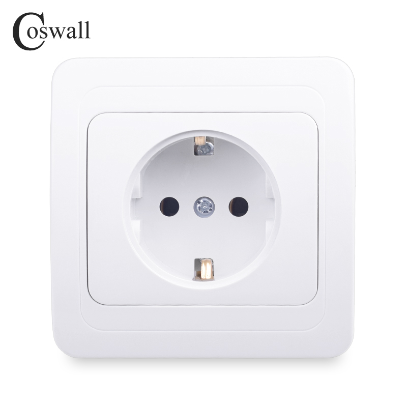COSWALL Wall Power Socket 16A EU Standard Electrical Outlet Grounded White AC 110~250V Ceramic Base Copper Accessories