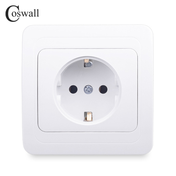 COSWALL Wall Power Socket 16A EU Standard Electrical Outlet Grounded White AC 110~250V Ceramic Base Copper Accessories - discount item  41% OFF Electrical Equipment & Supplies