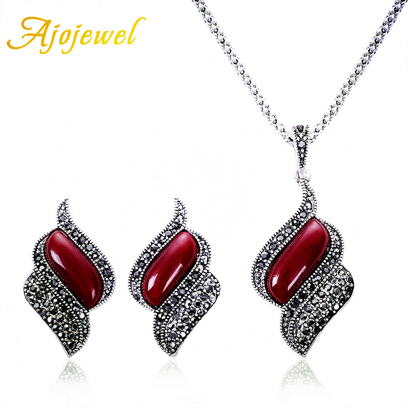 Ajojewel Black Rhinestone Vintage Jewelry sets Red Resin Earrings And Necklace Set For Women Bijoux Cute Gifts