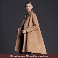 Venta caliente de La Mujer Abrigo de Lana de Alta Calidad Chaqueta de Invierno Mujeres de Lana Larga Abrigos Cardigan Chaquetas de Cachemira Elegante Mezcla
