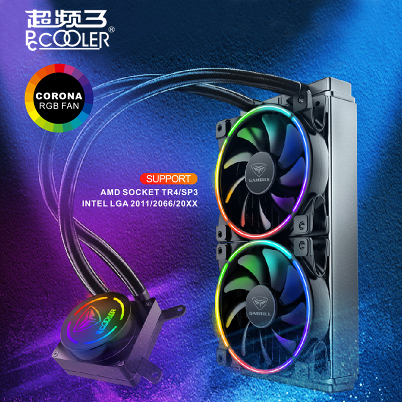 Pccooler GI-AP240X high-end CPU Water cooling 12cm PWM RGB quite fan for AMD TR4 intel 2011 2066 All-in-one Liquid CPU cooler qqv6 aluminum alloy 11 blade cooling fan for graphics card silver 12cm