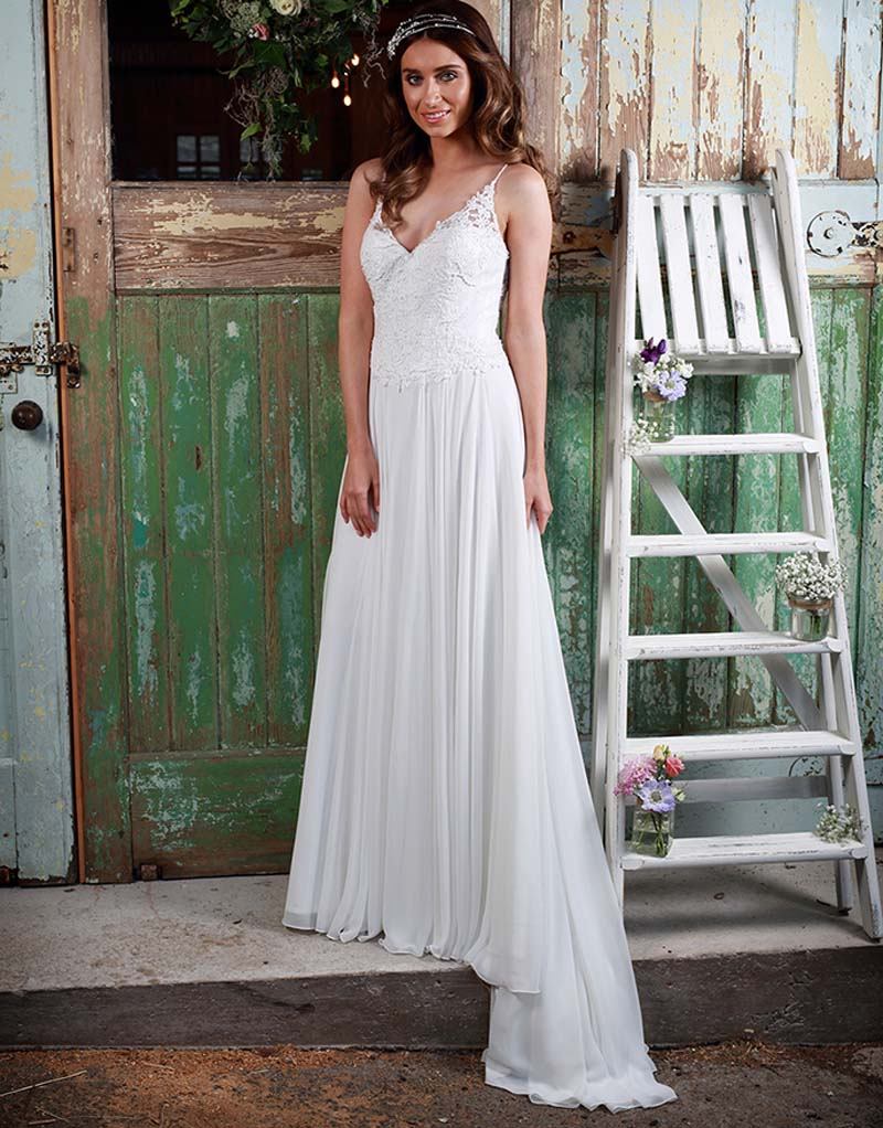 sexy spaghetti straps v neck boho cheap bohemian lace beach wedding dresses 2017 chiffon bridal gowns