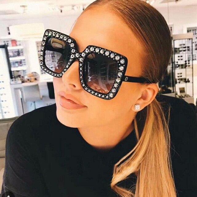 Большие солнцезащитные очки топ со стразами роскошные брендовые дизайнерские солнцезащитные очки для женщин квадратные оттенки женские модные солнцезащитные очки ретро UV400