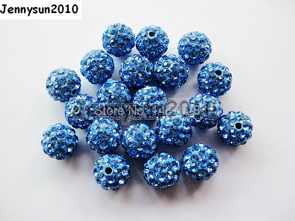 10mm Light Blue Top Quality Czech Crystal Rhinestones Pave Clay Round Disco Ball Spacer Beads For Jewelry 100pcs Jewelry & Accessories Pack Beads
