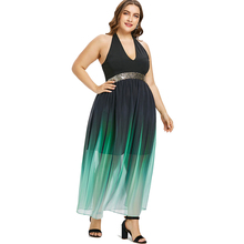 50a834beb14 Plus Size Halter Neck Sequined Trim Ombre Maxi Dress Women Open Back  Sleeveless A Line Party
