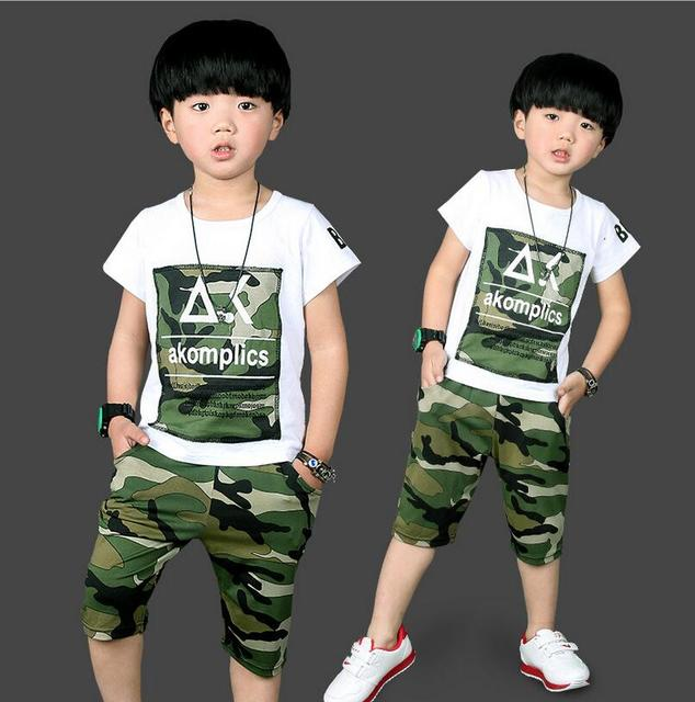 Fashion Camouflage Costumes For Boys Casual Conjunto Menino Cotton Short Sleeve T-shirt And Half Trousers Clothing Sets Summer