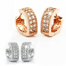 Heart Hoop Rose Gold Earring V-shaped Double Row Fine Crystal Heart-Shaped Silver Color Earrings Ear Buckle Lady Fashion Jewelry