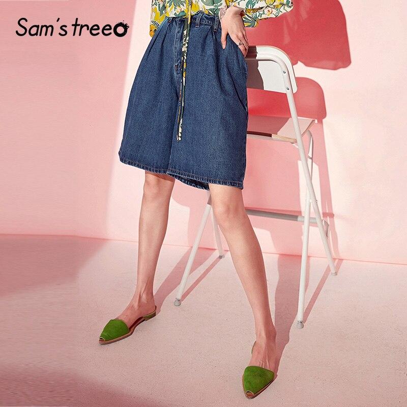 Samstree Blue Denim Shorts Casual Women Summer Wide Leg Shorts 2019 Straight Mid Waist Streetwear Female Hot Short Jeans
