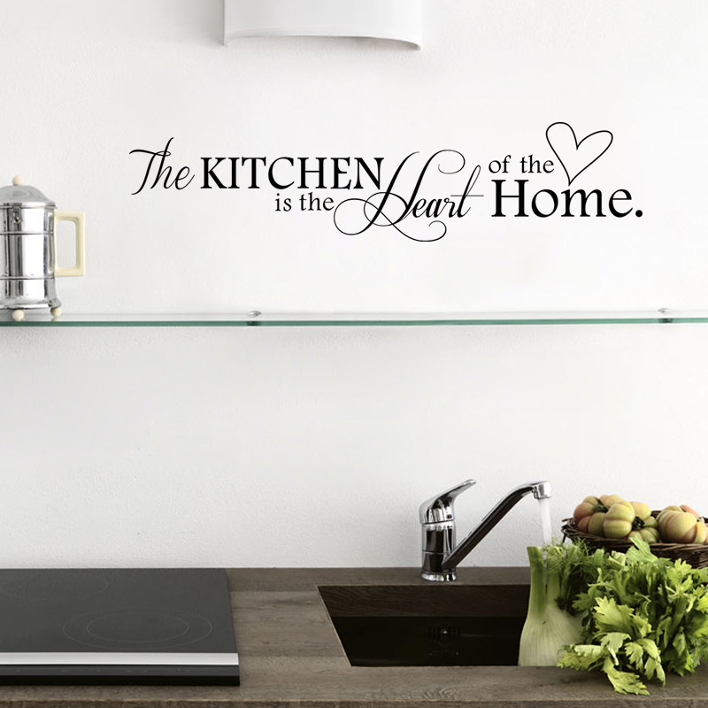 New Kitchen is Heart of the Home Letter Pattern Wall Sticker PVC Removable Home Decor DIY wall art MURAL(China)