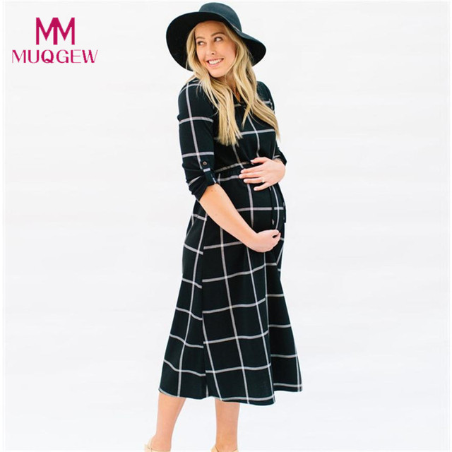 2be2d9f233cd3 New Fashion Maternity T-shirt Dress Pregnant Maternity Clothes Casual  Nursing Boho Chic Tie Long Sleeves Plaid Pregnancy Clothes