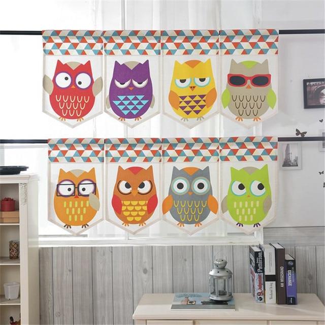 Attractive Japanese half curtain owl cartoon linen kids window valance for  LS65