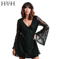 HYH HAOYIHUI Women Dress Solid Black Deep V Neck Backless Lace Sexy Dress Basic Streetwear Elegant